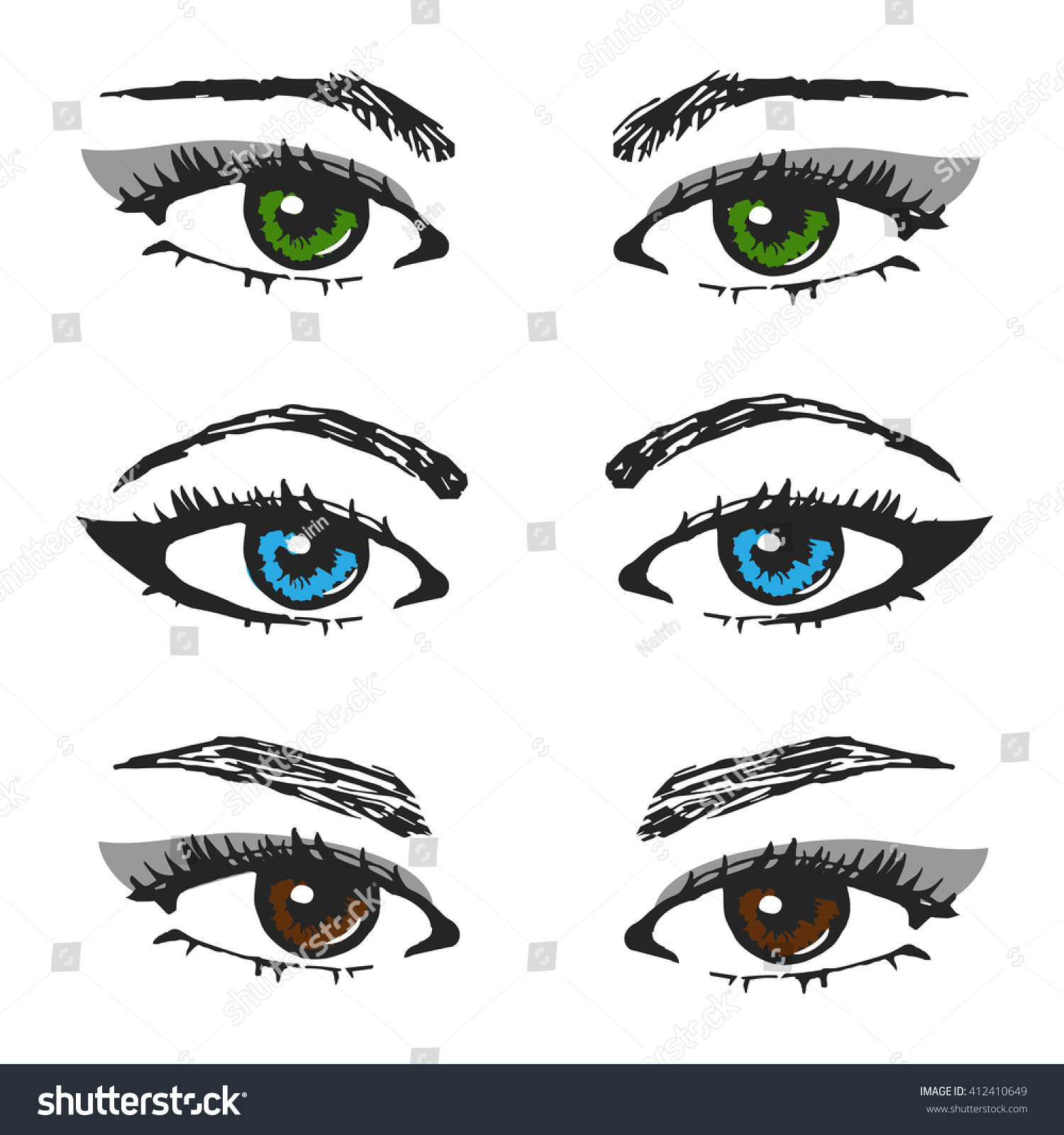 Set Female Eye Sketchesdifferent Types Eyebrows Stock Vector