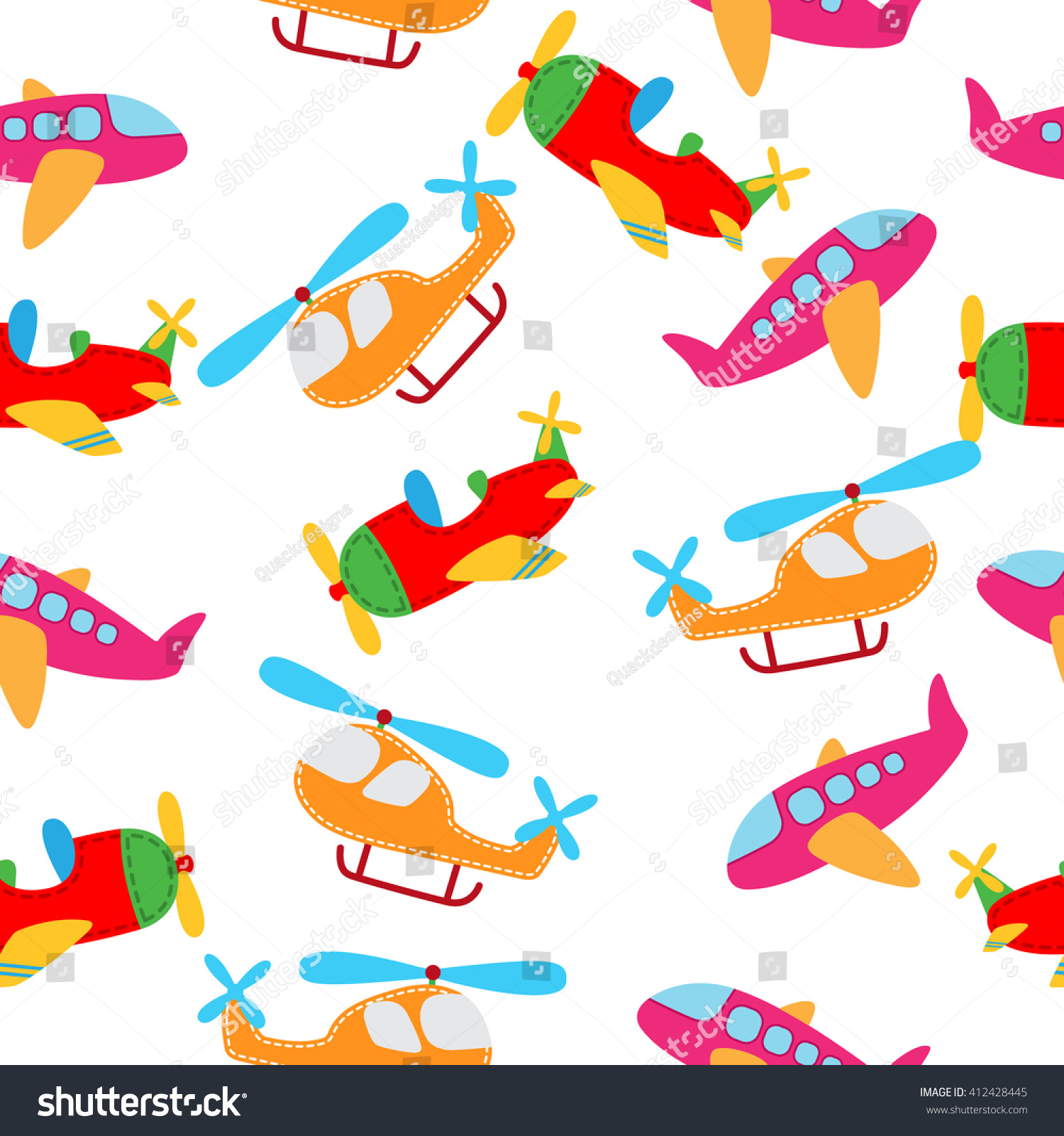 vector cute airplane seamless pattern stock vector 412428445