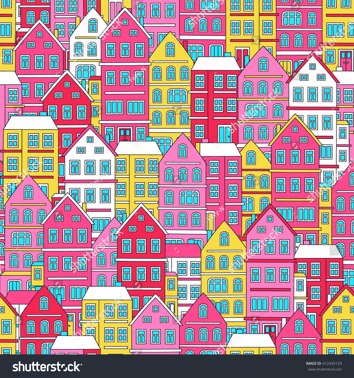 Doodle House Vector Seamless Pattern Doodle Stock Vector (Royalty ...