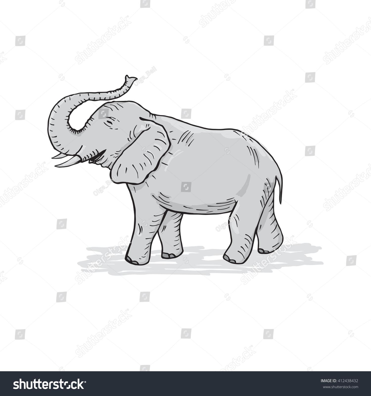 Vector one color linear cartoon elephant. Elephant for children ...