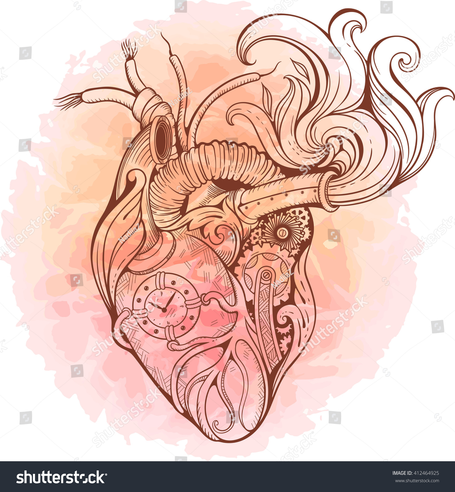 Image Heart Steampunk Style Watercolor Background Stock Vector ...
