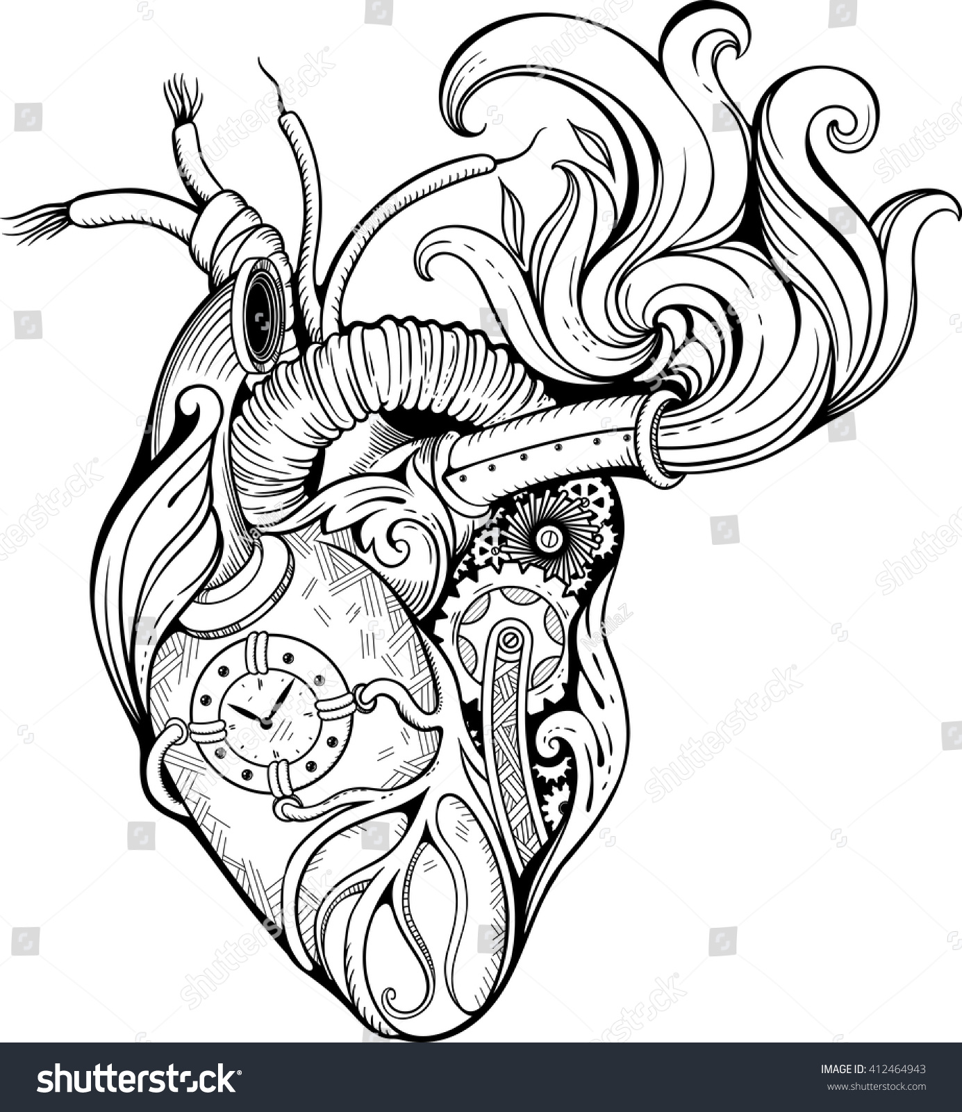 image heart ste unk style black white stock vector royalty free  image of heart in ste unk style black and white