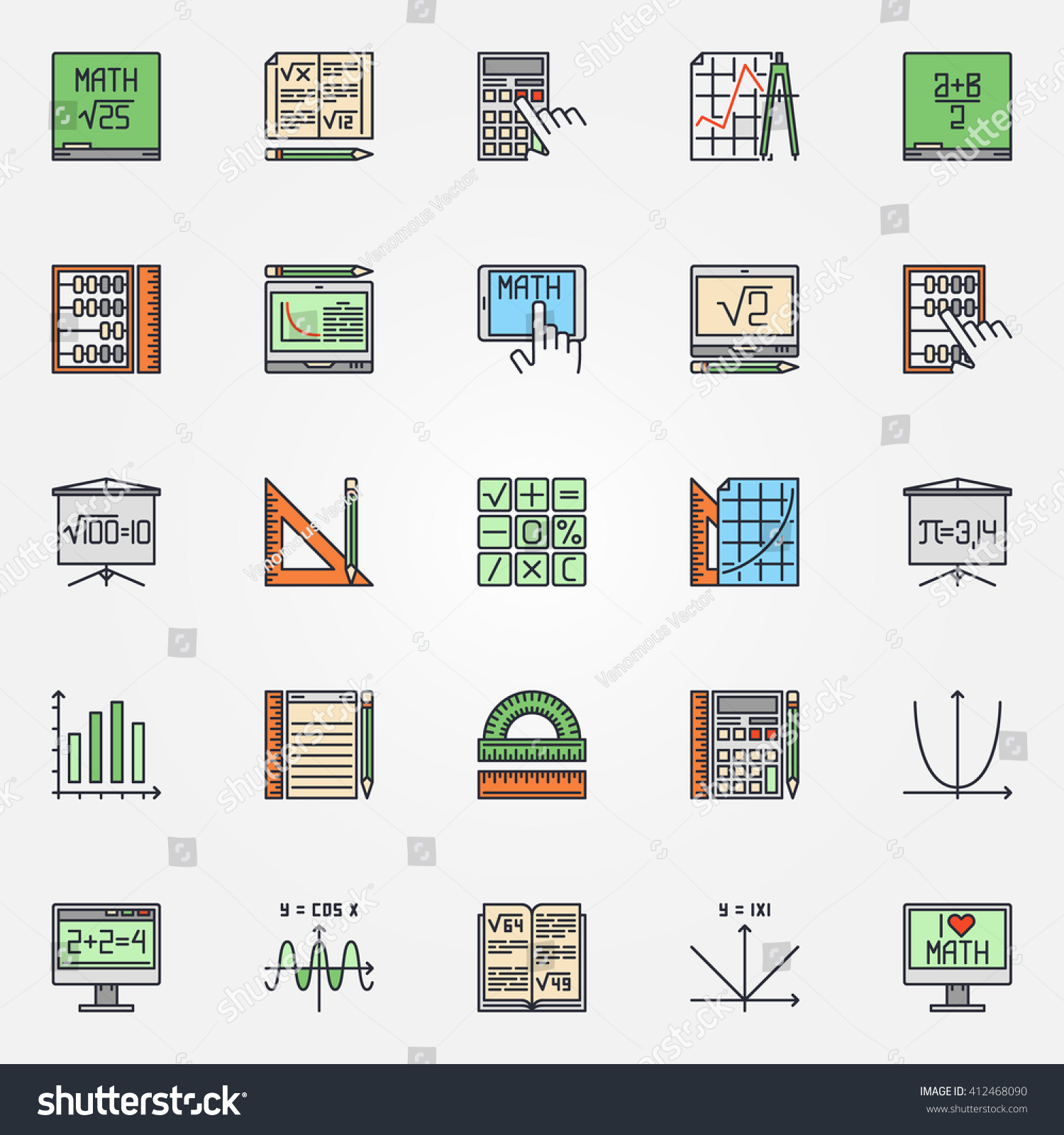 Mathematics Icons Set Vector Colorful Math Stock Vector Royalty