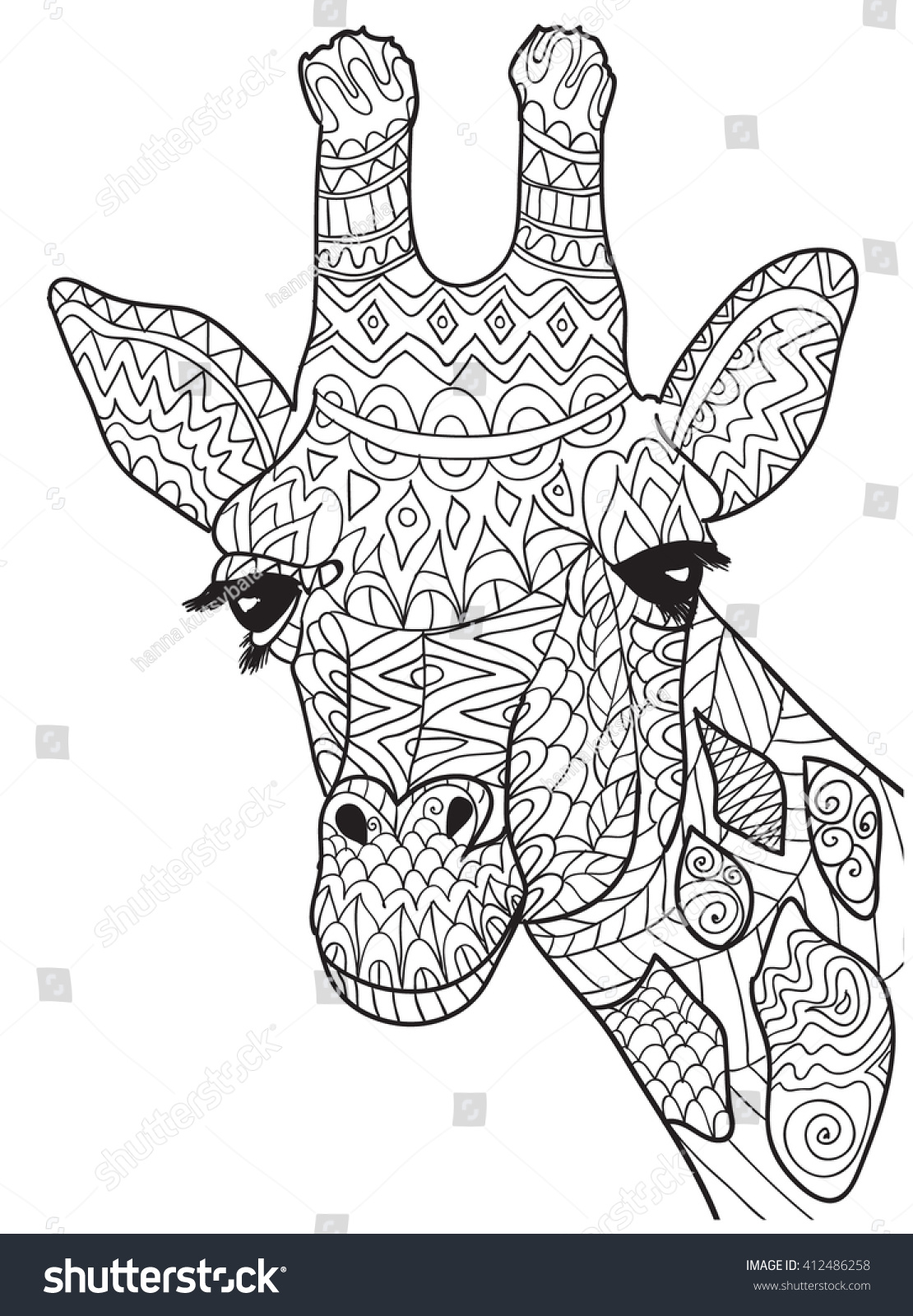 Hand Drawn Coloring Pages Giraffe Zentangle Stock Vector (Royalty ...