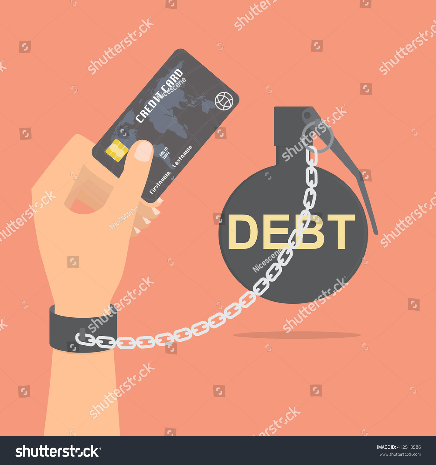 Human Hand Debt Bomb Chained Holding Stock Vector 412518586 ...
