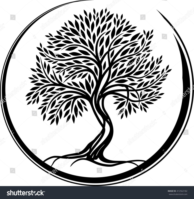 Olive tree symbol stock vector 412562182 shutterstock olive tree symbol buycottarizona Choice Image