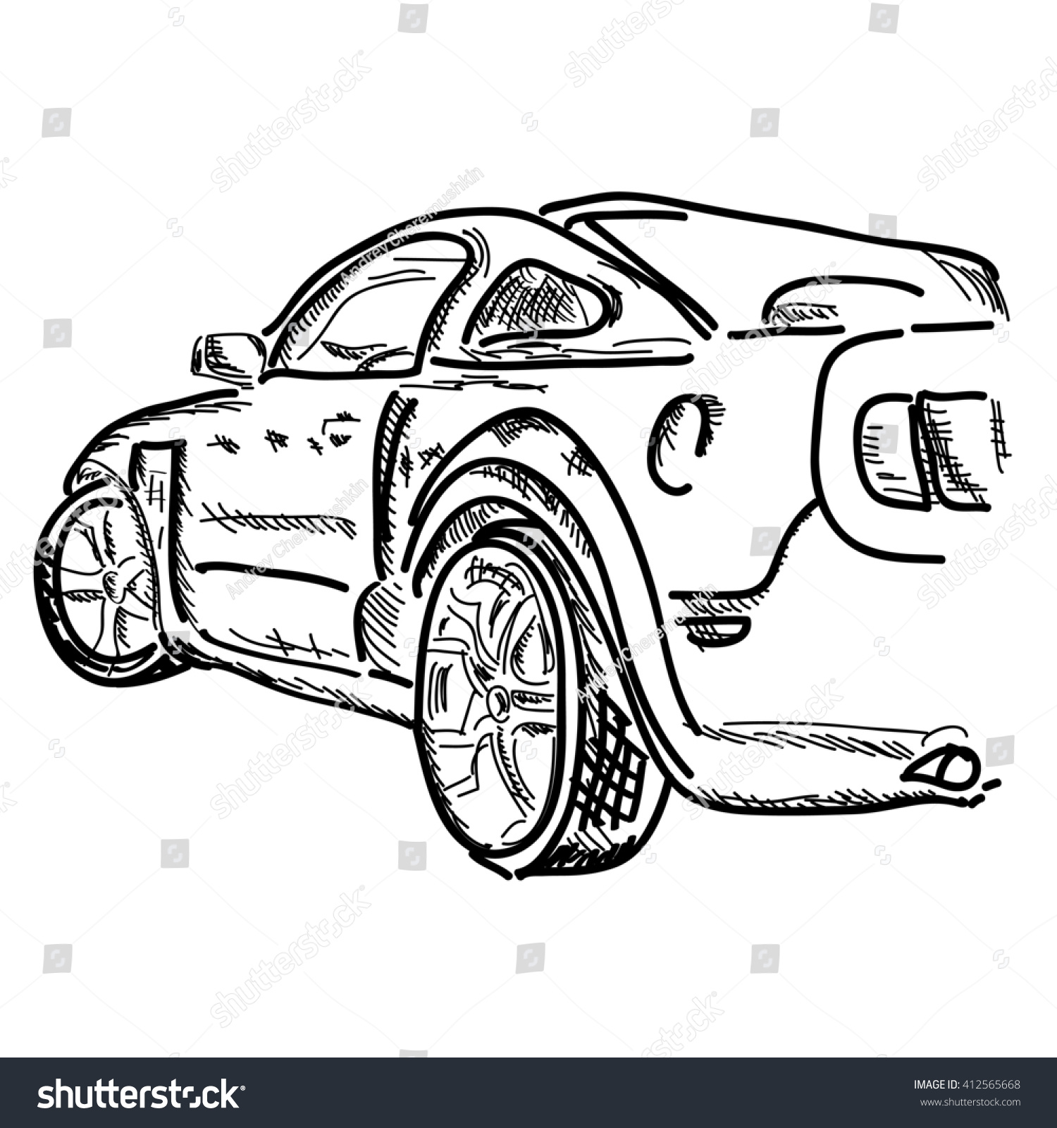 Hand draw simple sketch car can be use for poster wallpaper background