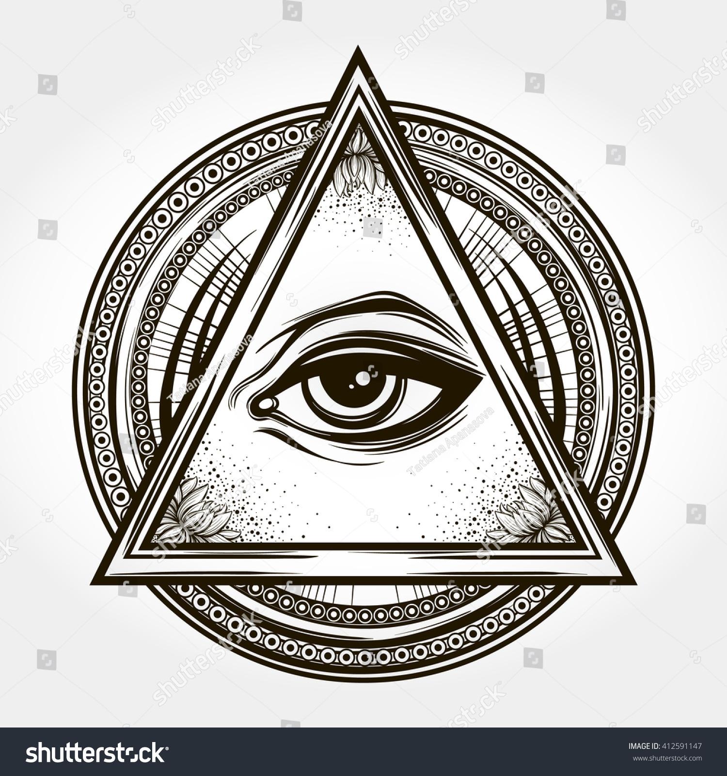Handdrawn Eye Providence All Seeing Eye Stock Vector 2018