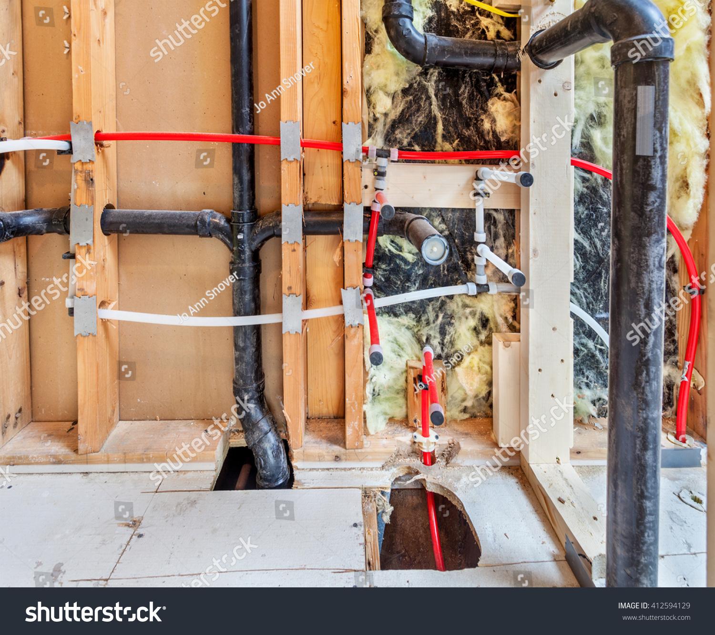 Bathroom Remodel Moving Plumbing : Remodeling home bathroom moving plumbing new stock photo