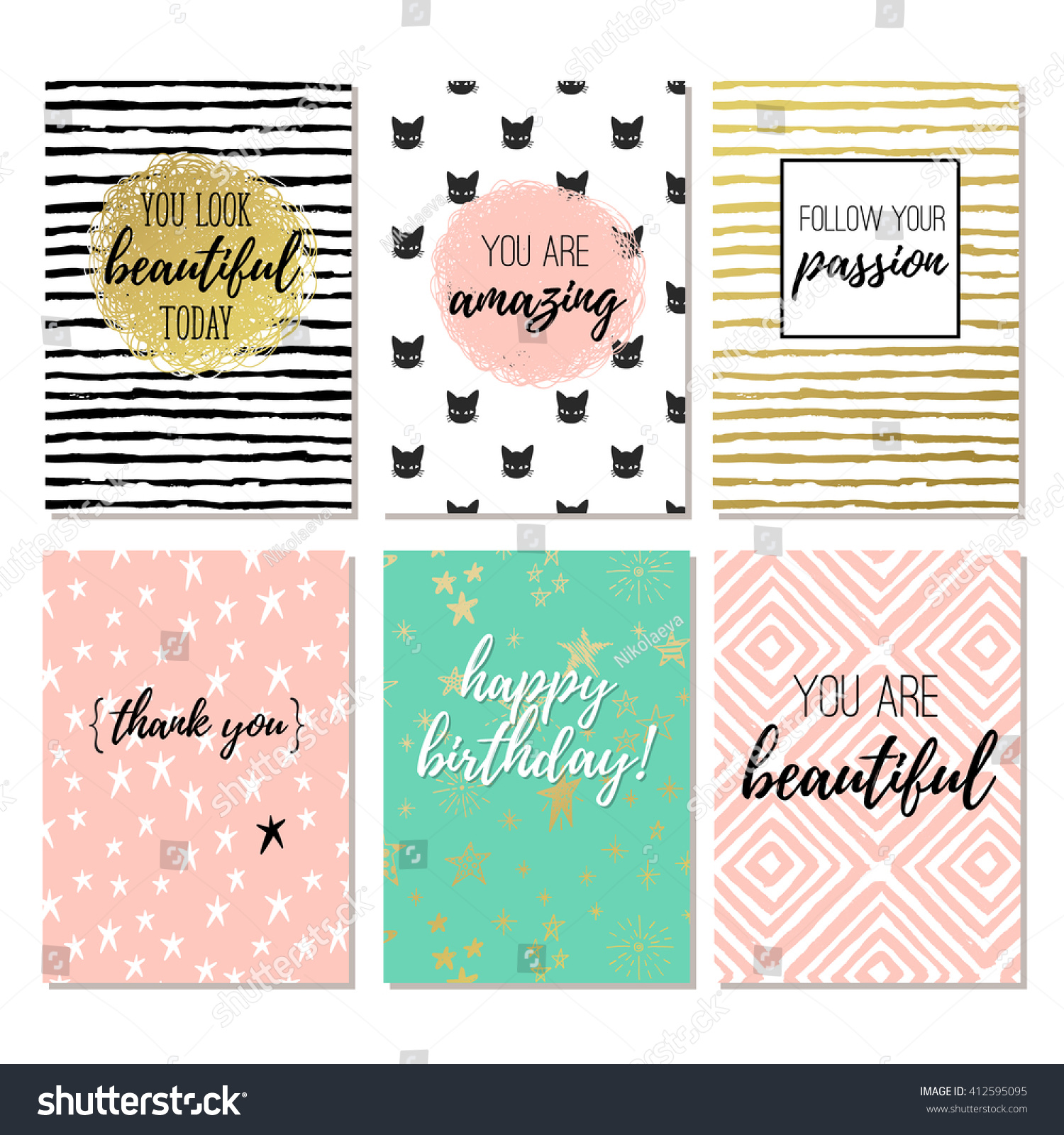 Set 6 fashion design printable greeting stock vector 412595095 set of 6 fashion design printable greeting cards m4hsunfo