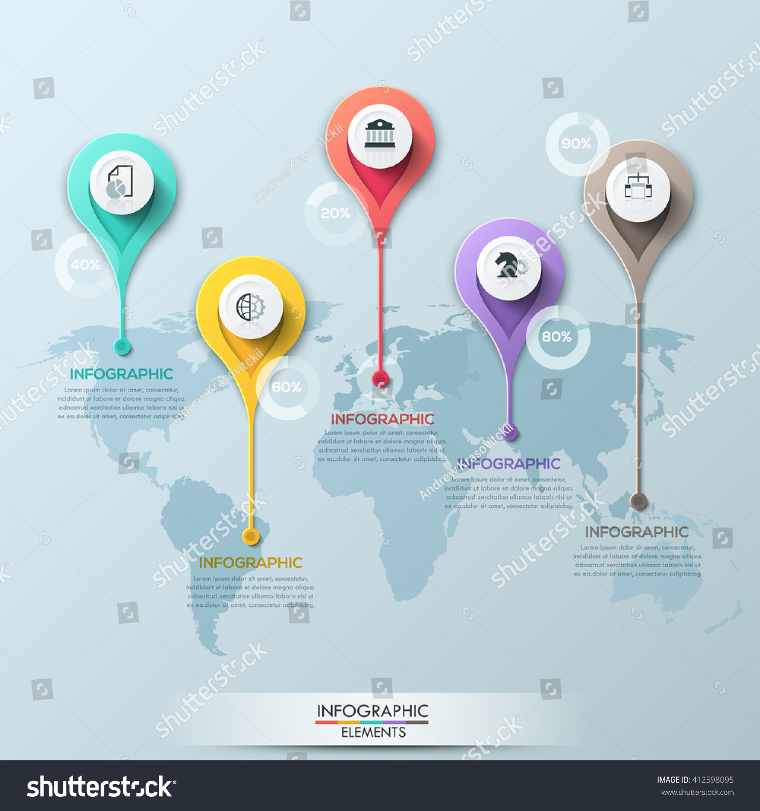 Vector world map illustration infographics design stock vector vector world map illustration and infographics design template with abstract circle markers can be used gumiabroncs Choice Image