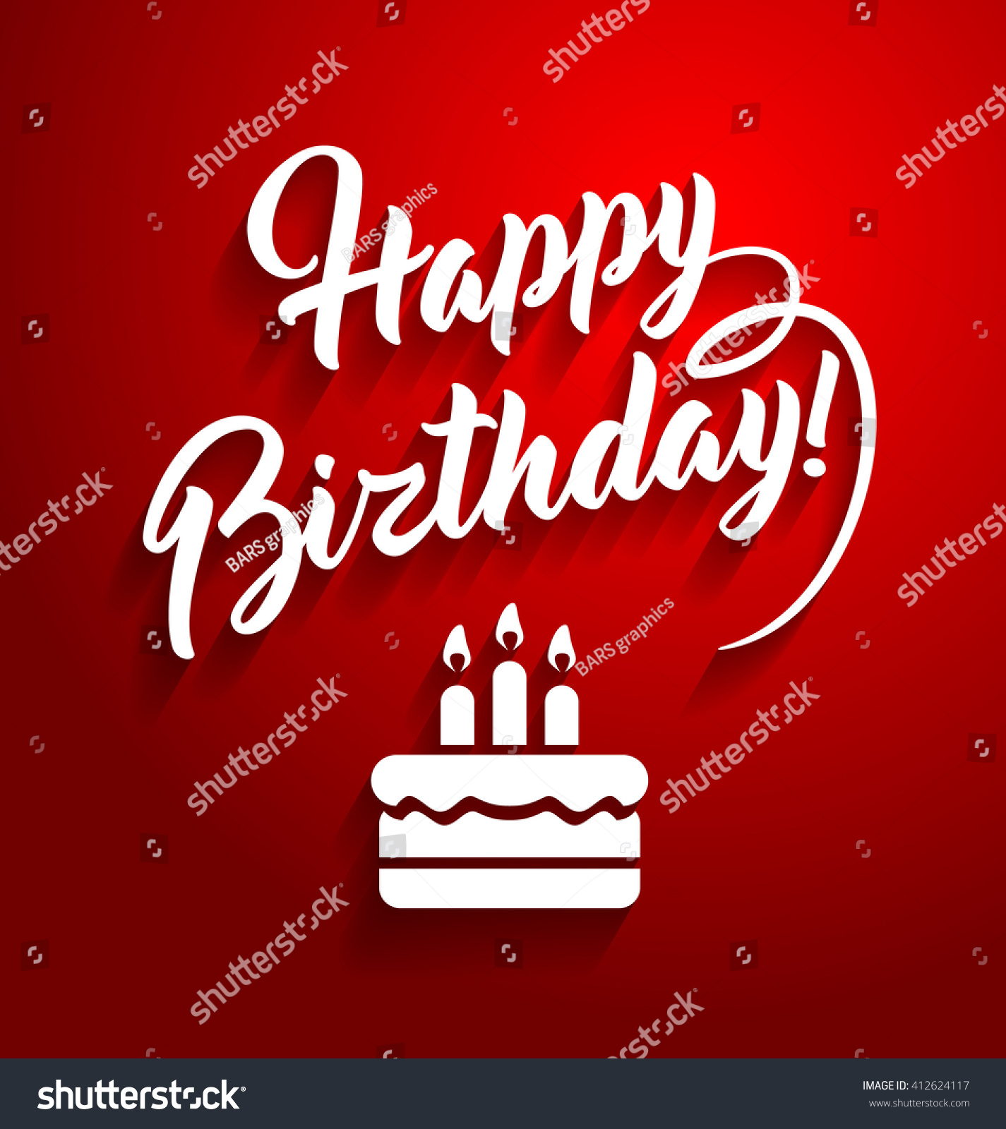 Happy Birthday Lettering Text On Red Stock Vector 412624117