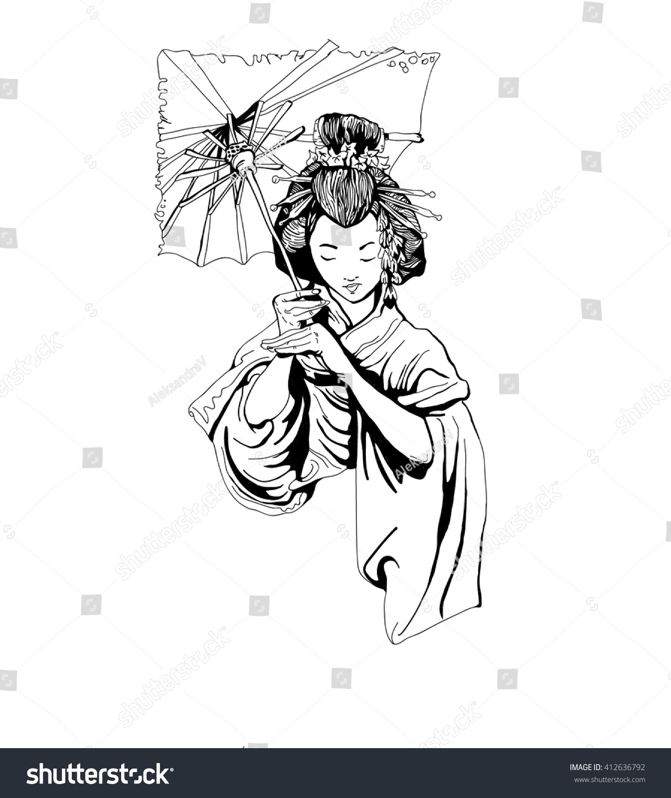 Uncategorized Geisha Girl Drawing japanese geisha girl woman drawing vector stock 412636792 a outline of the hand sketch