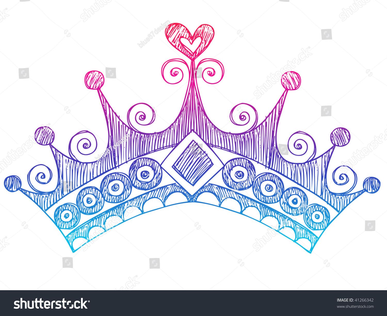 Notebook And Pen Sketch Stock Vector Art More Images Of: Handdrawn Sketchy Royalty Princess Tiara Crown Stock