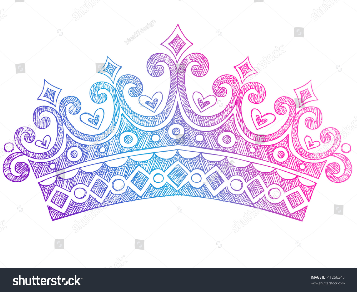 Notebook And Pen Sketch Stock Vector Art More Images Of: Handdrawn Sketchy Royalty Princess Queen Crown Stock