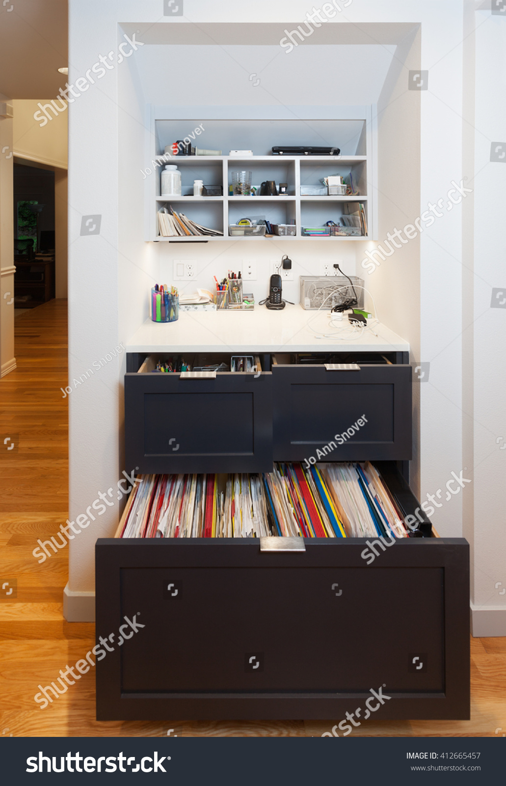 Kitchen Desk Kitchen Desk Area Drawers File Cabinet Stock Photo 412665457