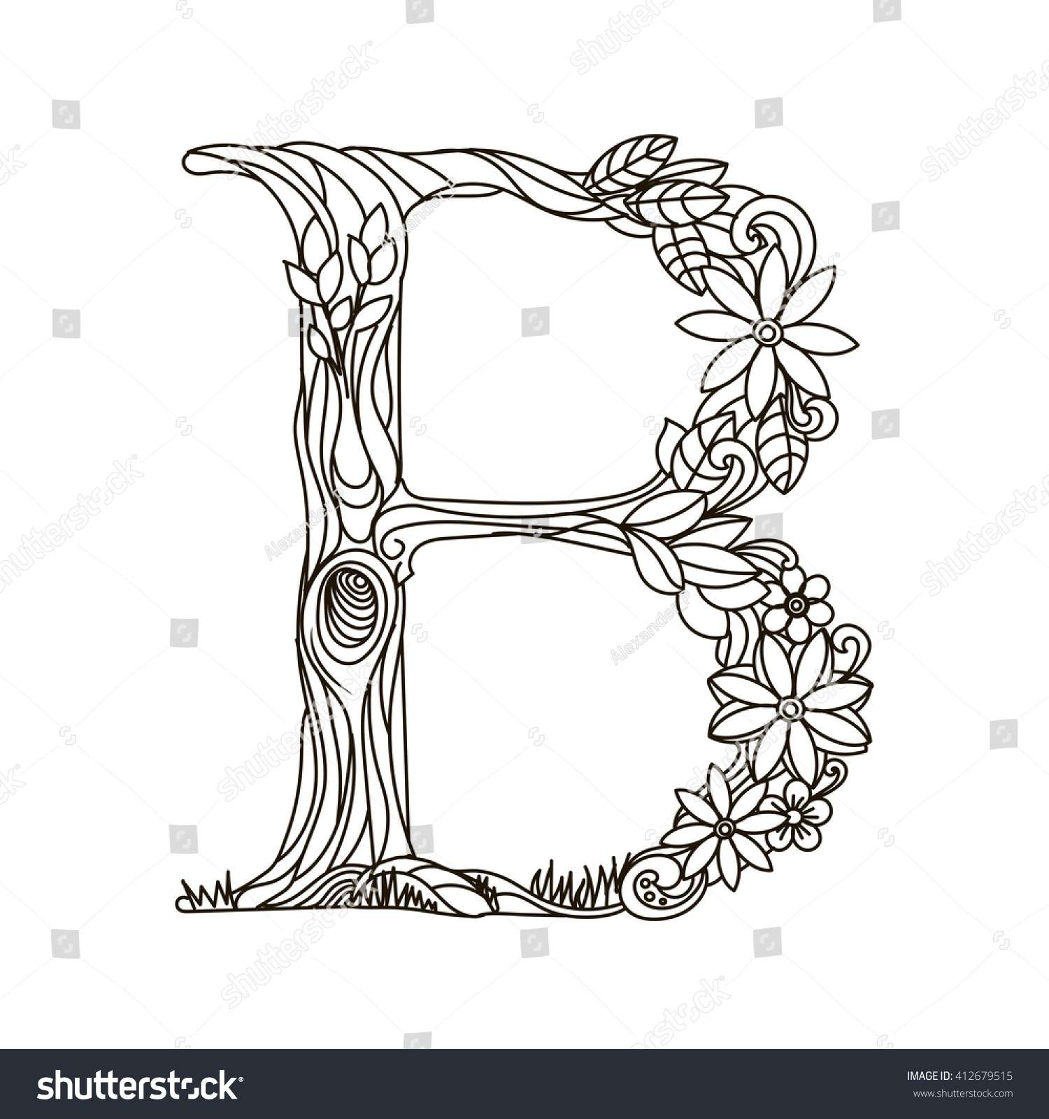 Flower alphabet coloring pages - Floral Alphabet Letter Coloring Book For Adults Raster Illustration Anti Stress Coloring For Adult