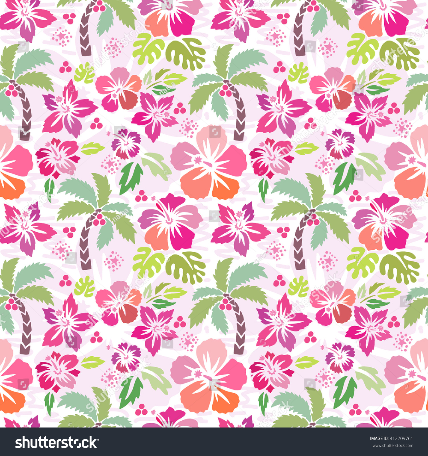 Fabric tree pattern - Seamless Vector Hibiscus And Palm Tree Pattern Illustration Tropical And Surf Design Good For