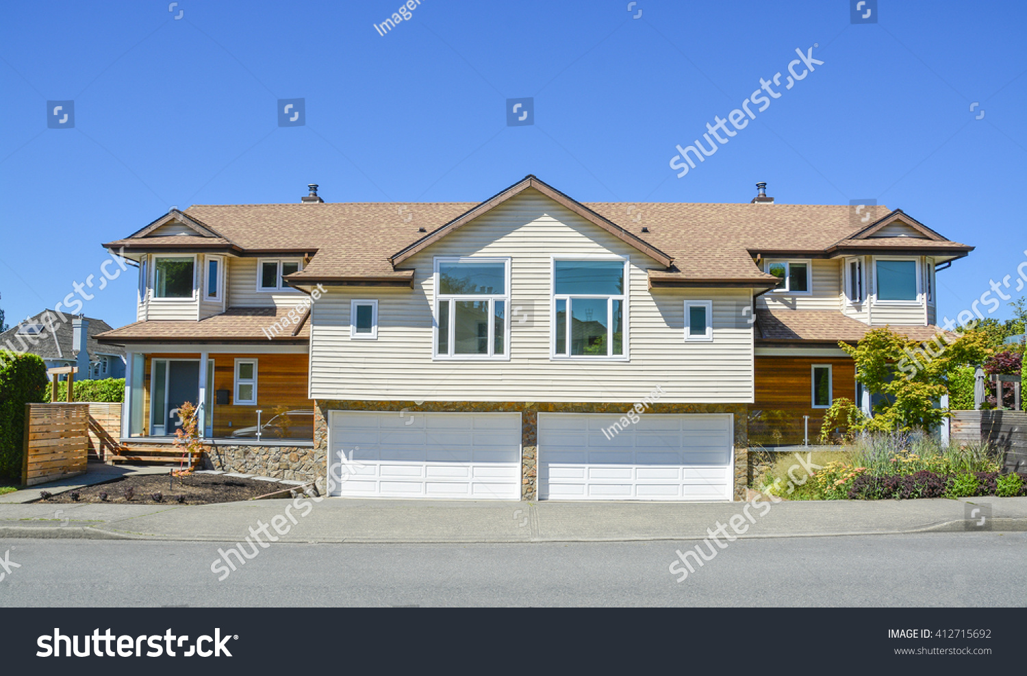 Brand new residential duplex house two stock photo for House for two families