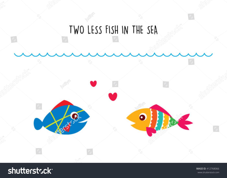 Two Less Fish Sea Wedding Invitation Stock Vector HD (Royalty Free ...