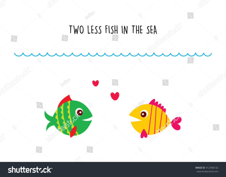 Two Less Fish Sea Wedding Invitation Stock Vector 412768132 ...