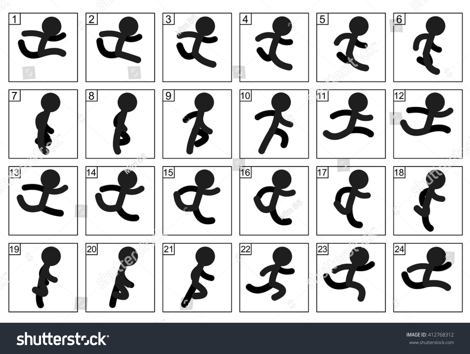 Stick Figure Running Cycle Stickman Run Cycle Ani...