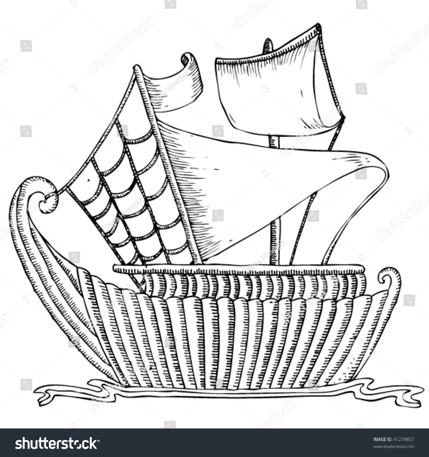 Drawing Of A Wooden Ship