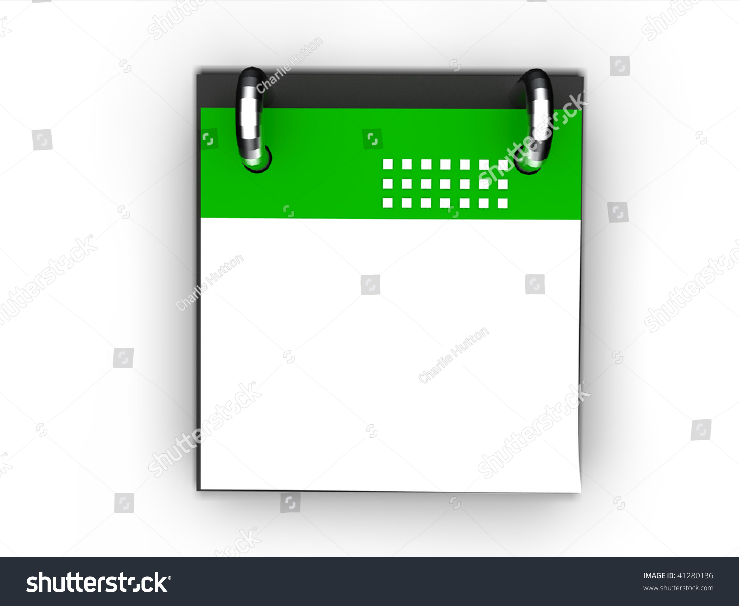 Blank Calendar Icon Green : Blank green calendar icon isolated stock photo