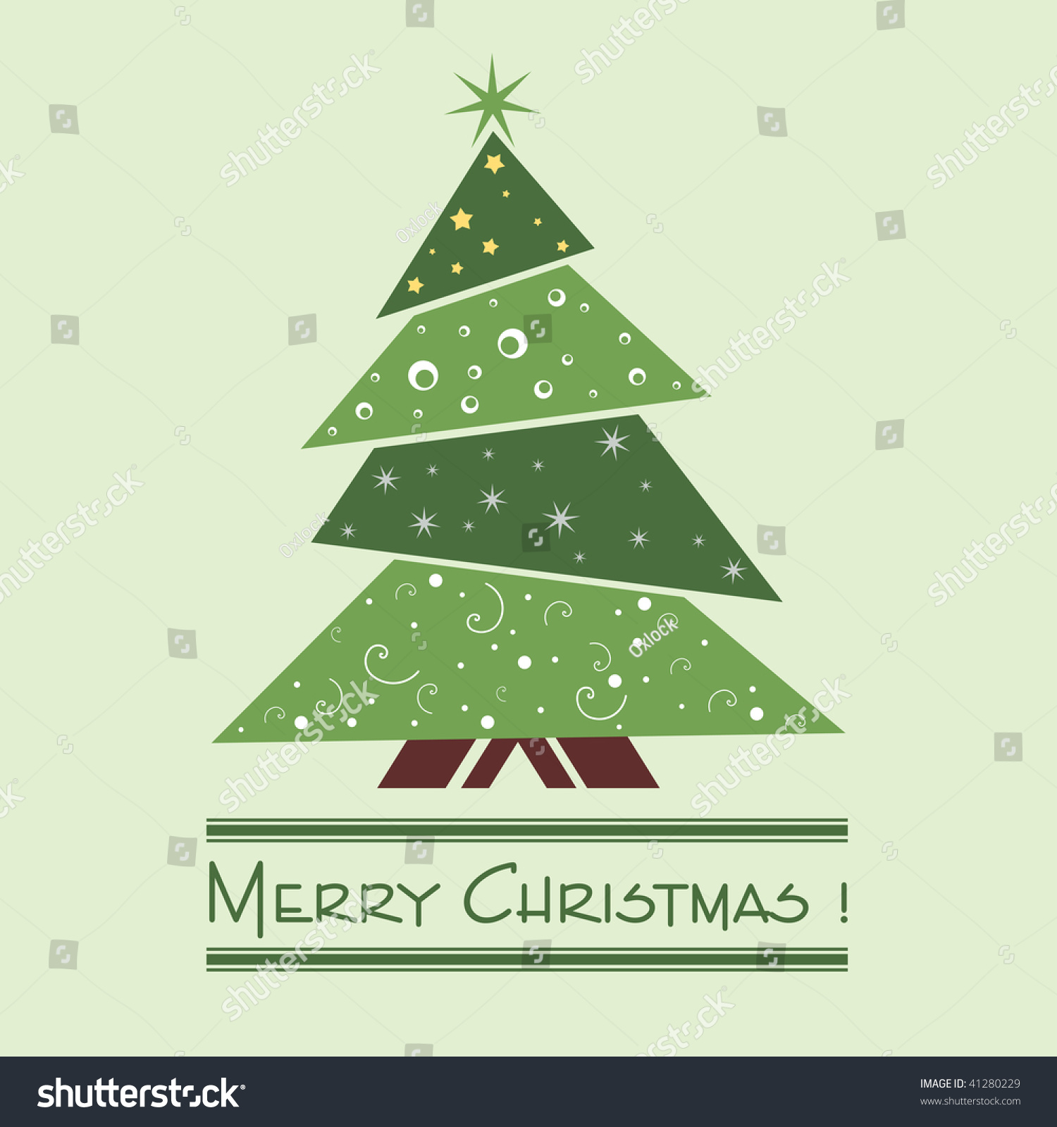 Vector Illustration Tree: Colorful Illustration With Decorated Green Christmas Tree