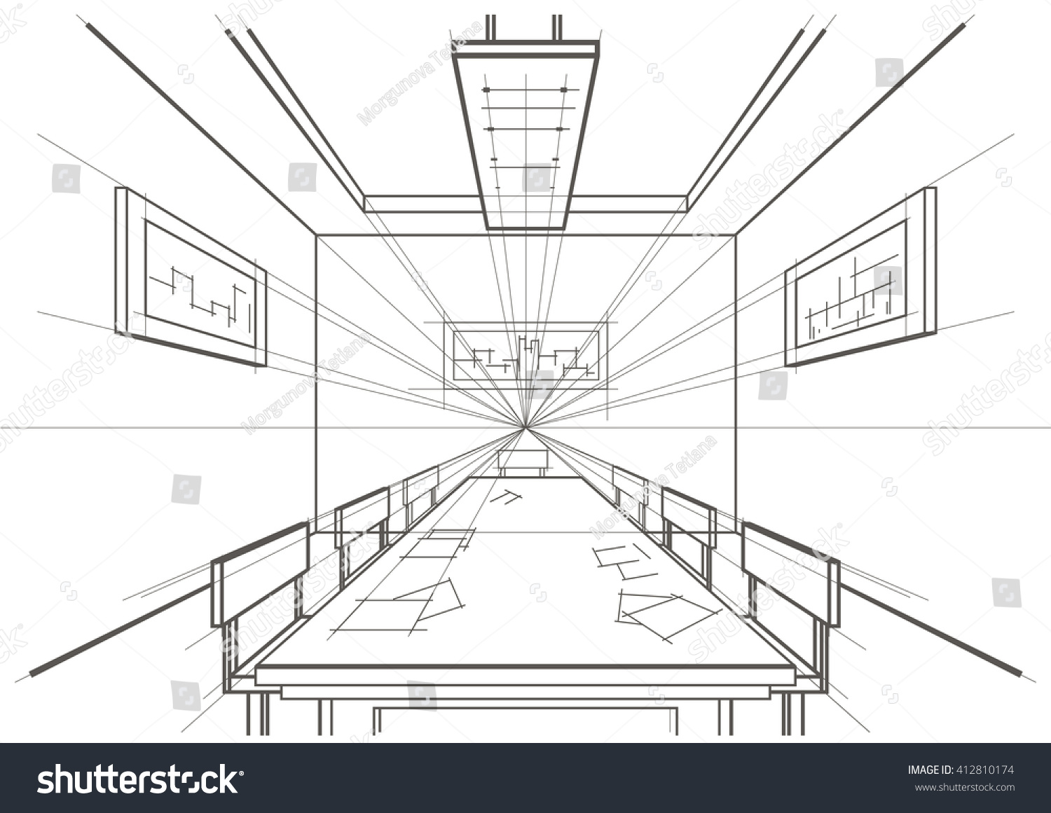 Linear architectural sketch interior conference room stock for Linear organization in architecture
