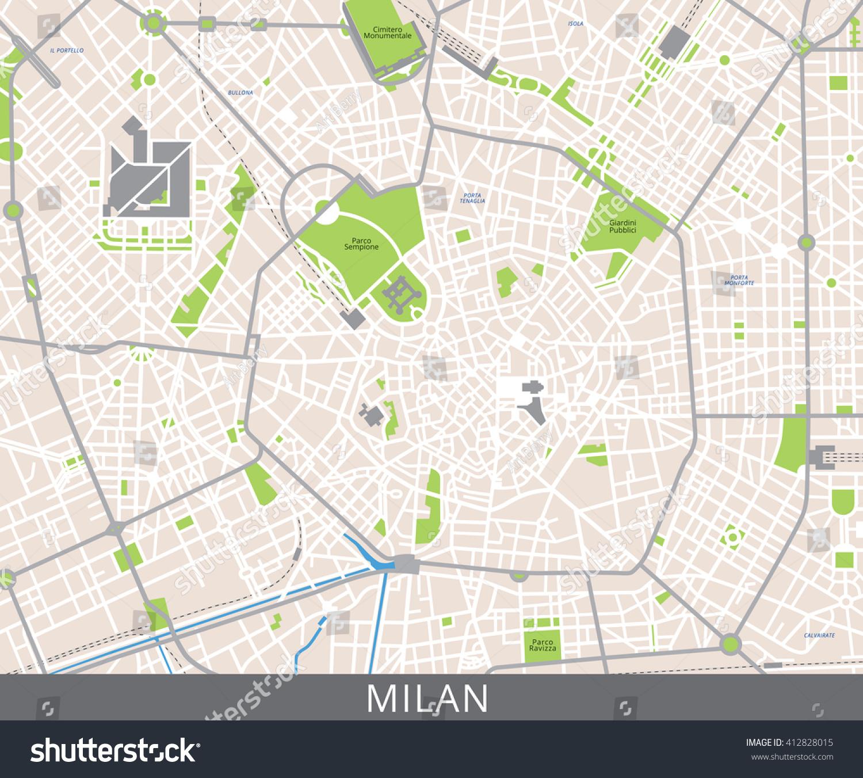 Vector Farve Kort Over Milano Italien Lagervektor Royaltyfri
