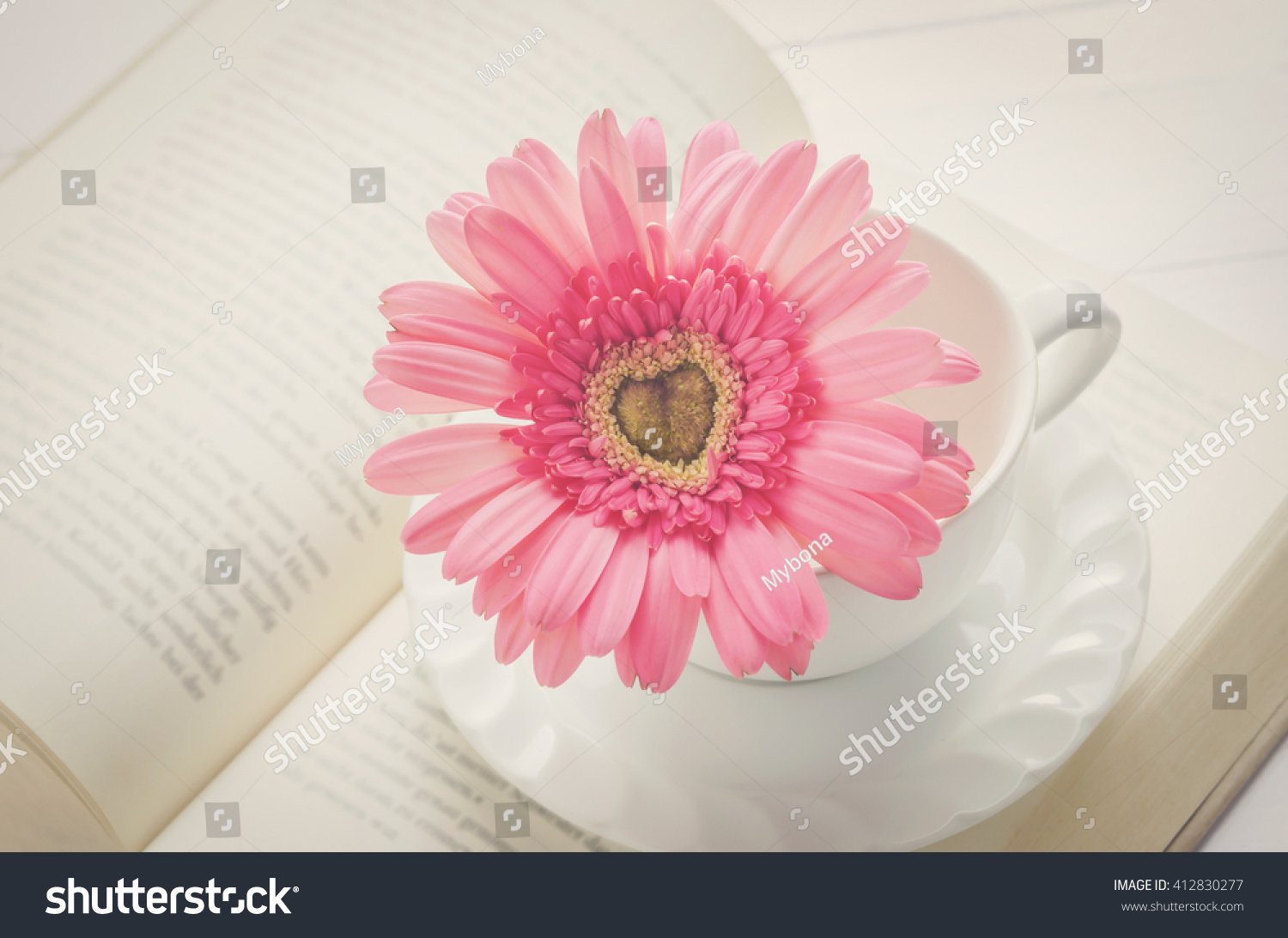Close pink gerbera daisy flower white stock photo royalty free close up of pink gerbera daisy flower and white coffee cup on opened book with soft izmirmasajfo
