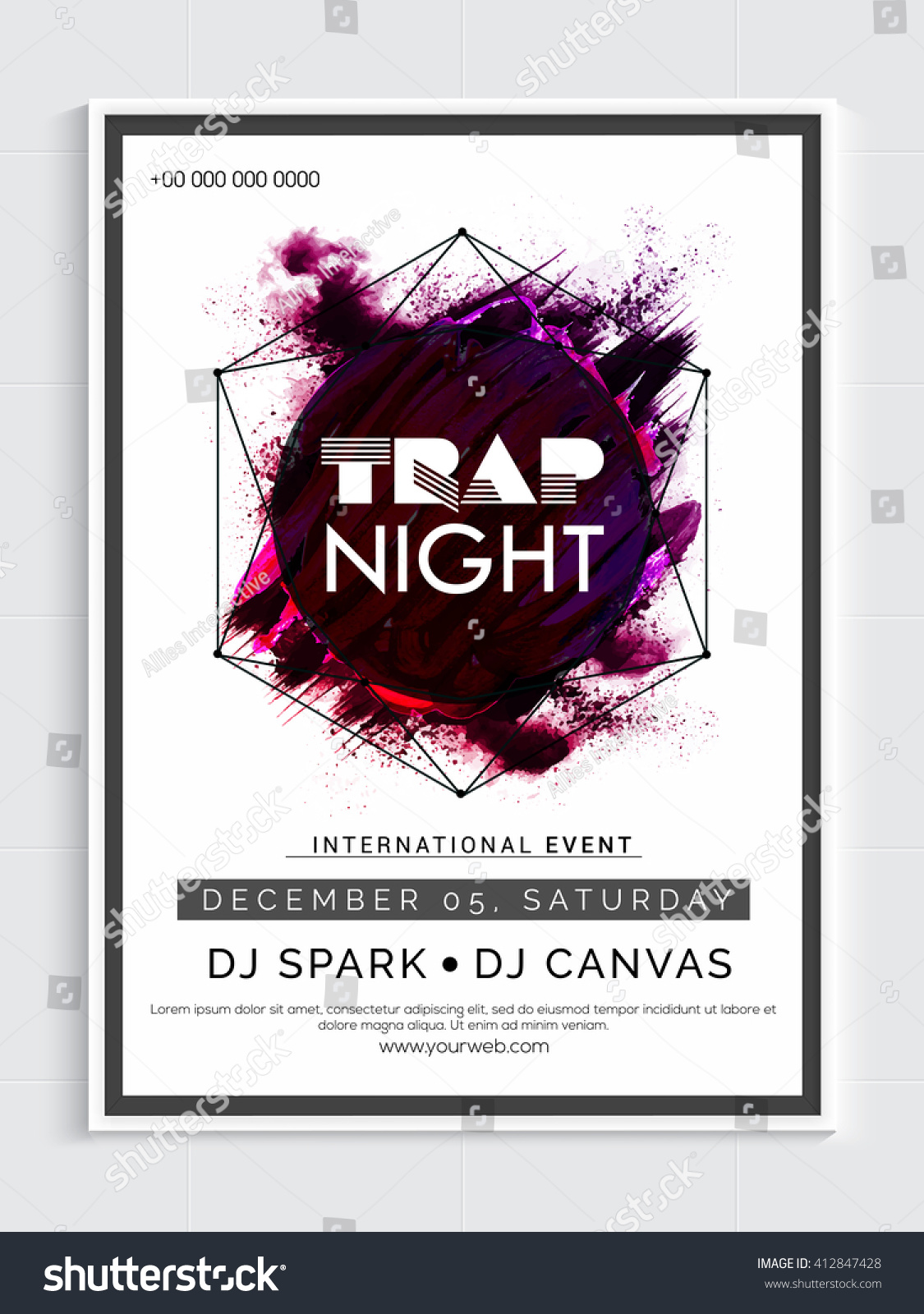 Trap Night Party Template Dance Party Stock Vector 412847428 ...