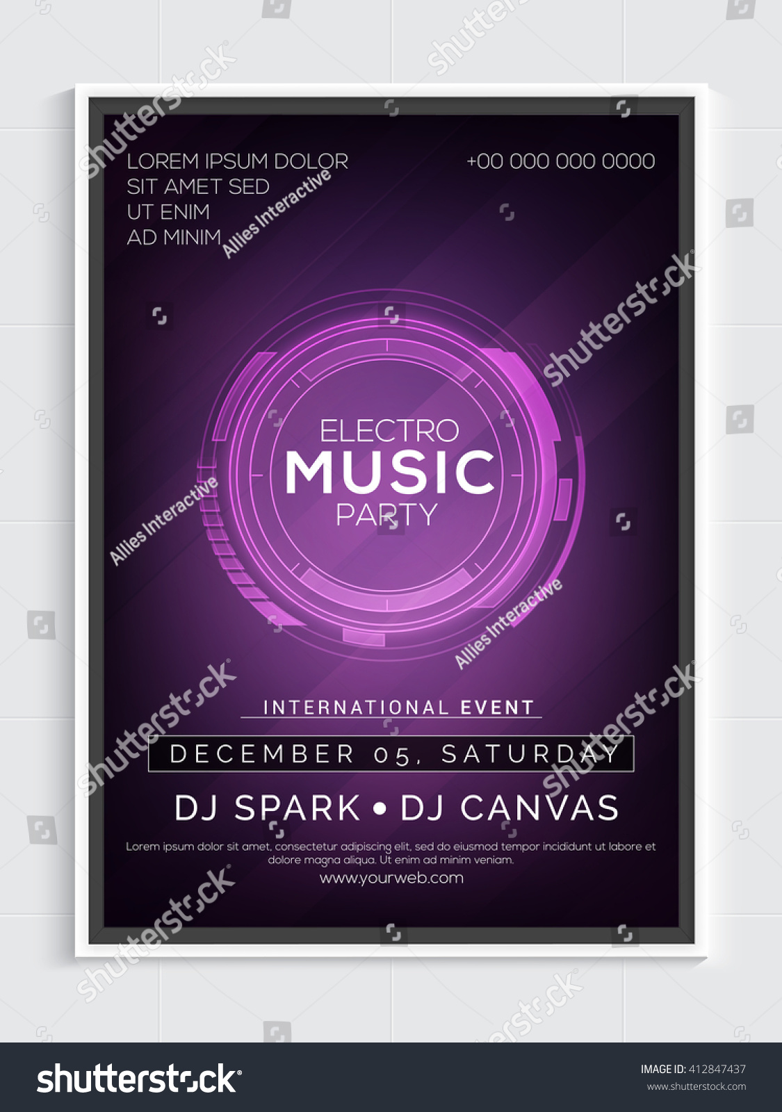 Electro Music Party Template Dance Party Stock Vector 412847437 ...