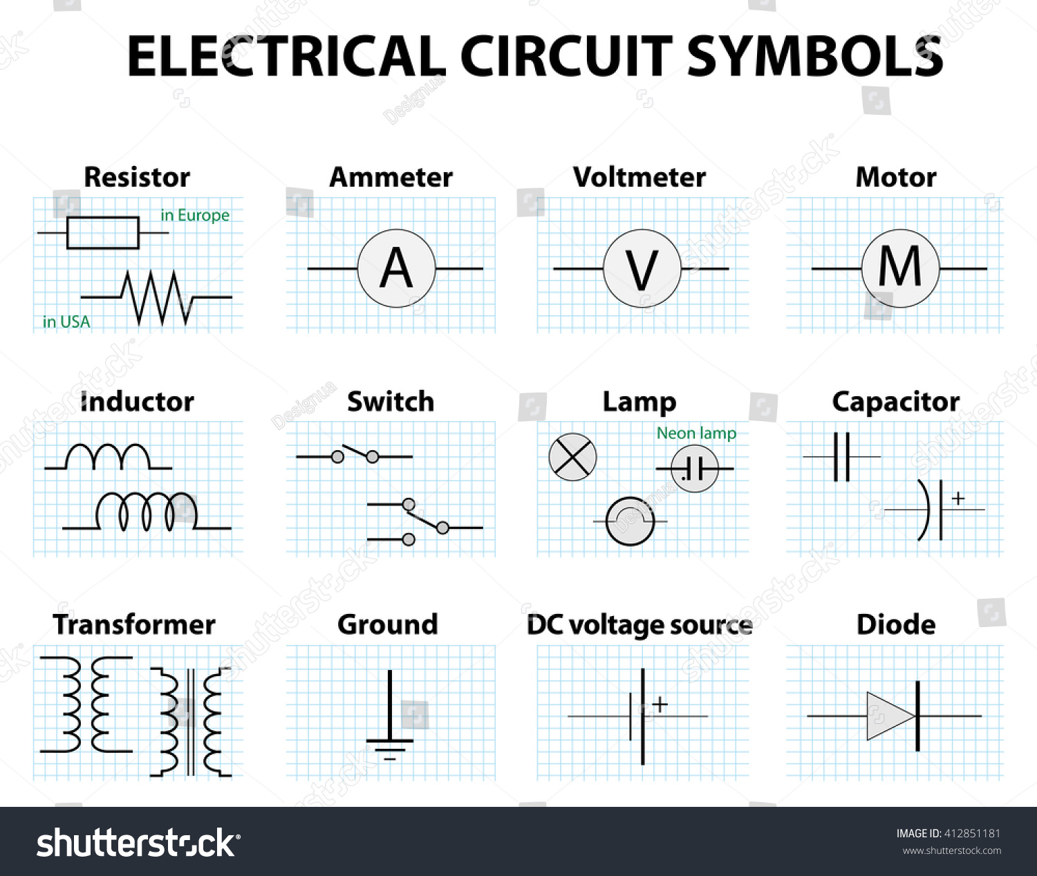 Electronic Symbol Pictogram Used Represent Electrical Stock ...