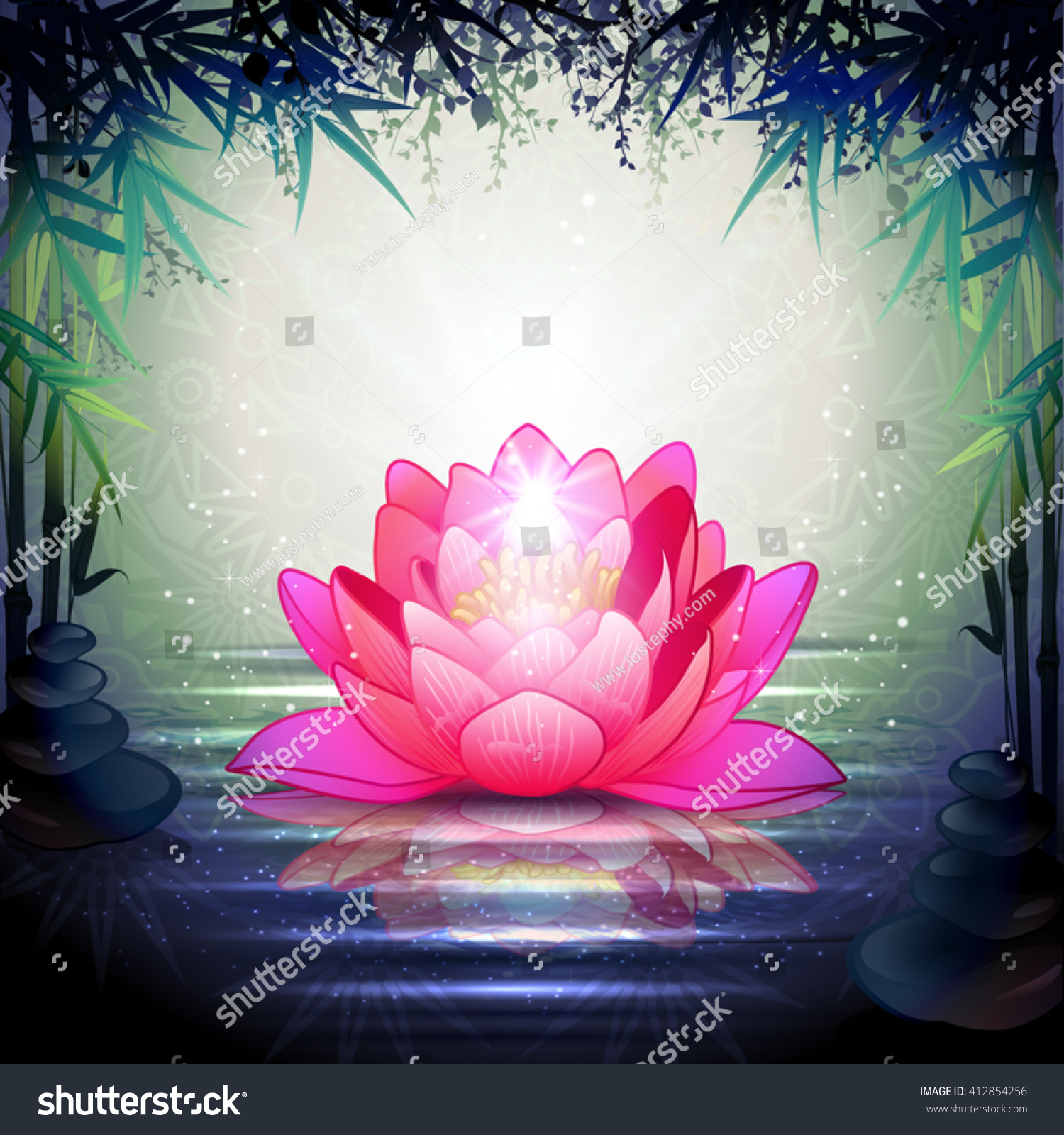 Lotus Flower Tranquil Zen Garden Transparency Blending Stock Vector