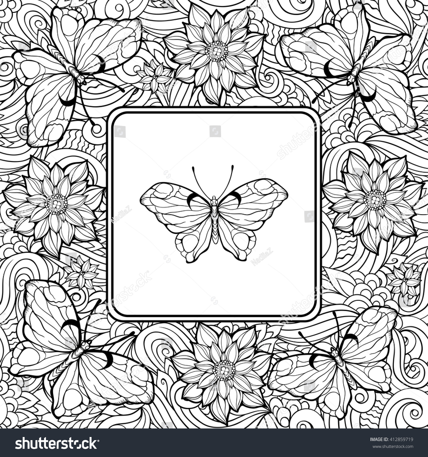 Coloring Page Butterfly Center Pattern Flowers Stock Vector ...