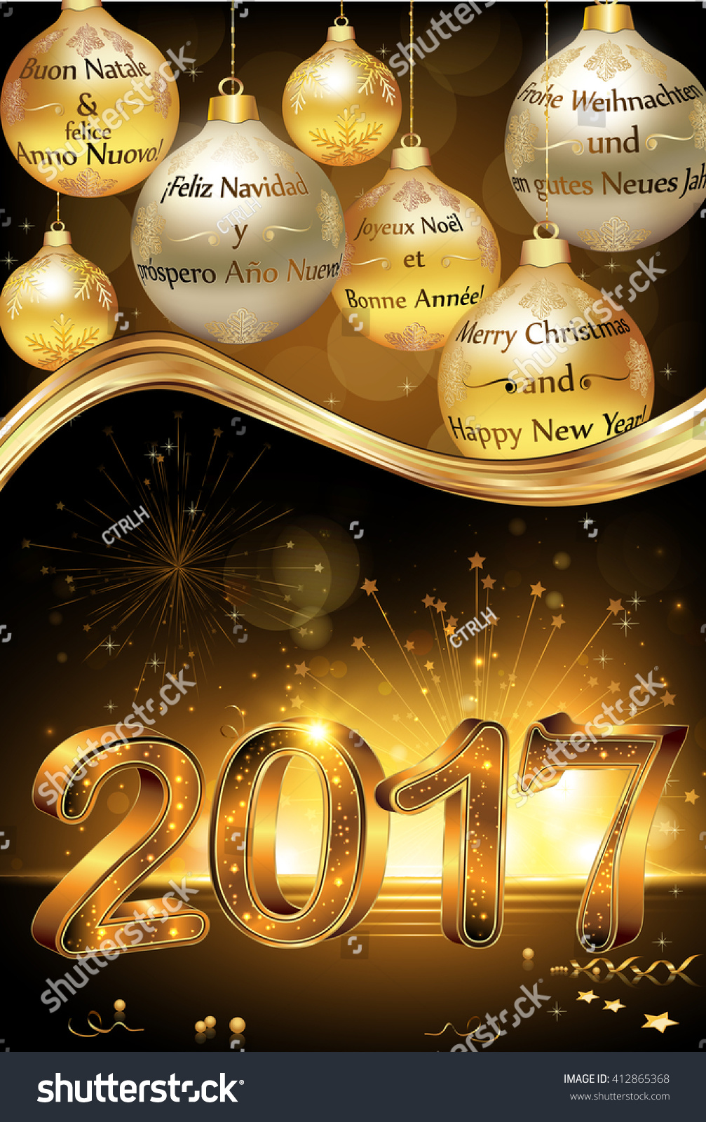 Happy new year 2017 greeting card stock vector royalty free happy new year 2017 greeting card card with message in many languages english m4hsunfo