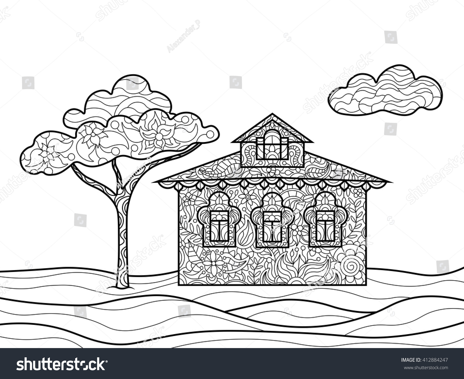 Coloring book landmark for adults - House Building Coloring Book For Adults Vector Illustration Zentangle Style Black And White Lines