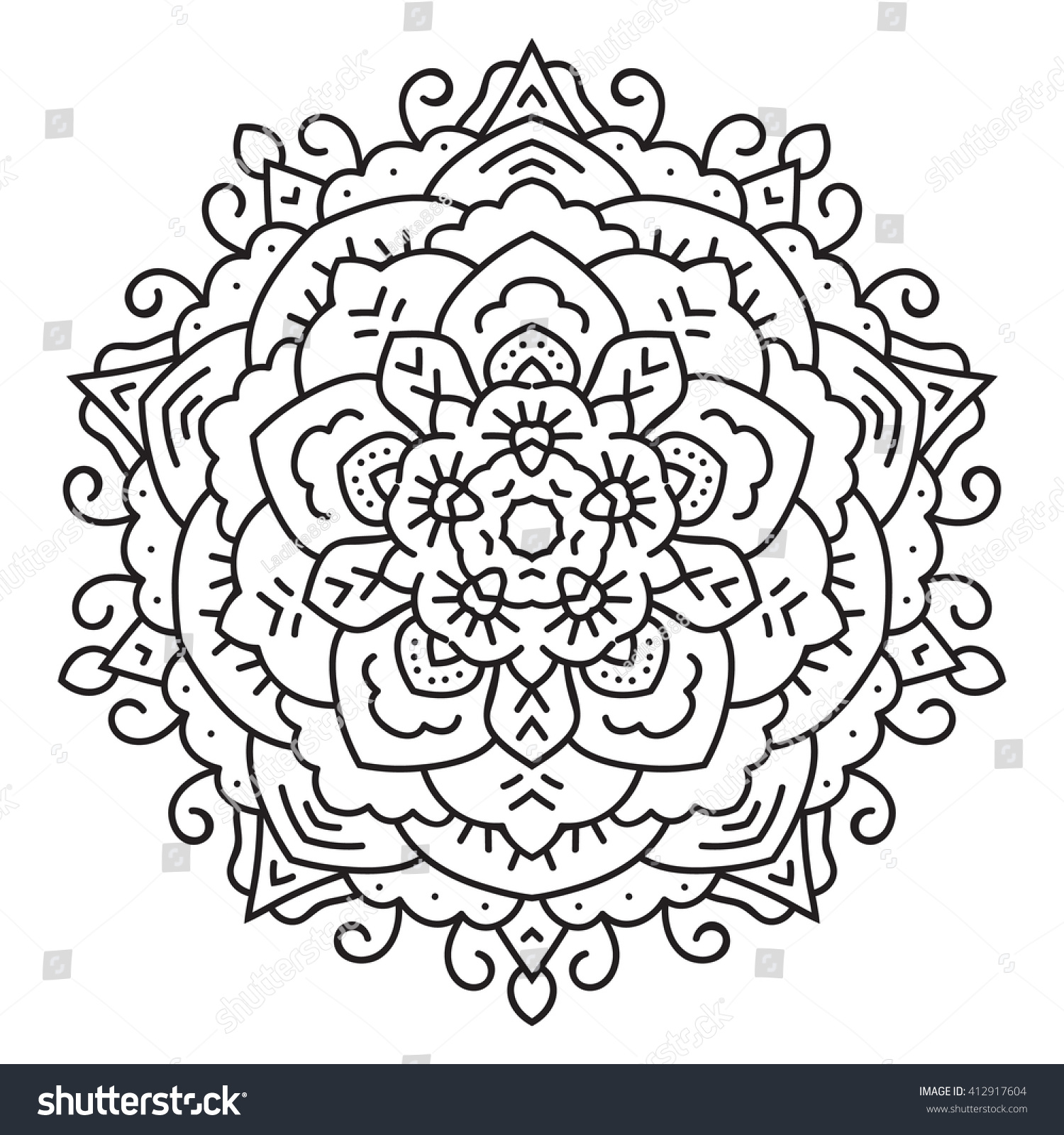East Circular Pattern Mandala Coloring Page Stock Illustration ...