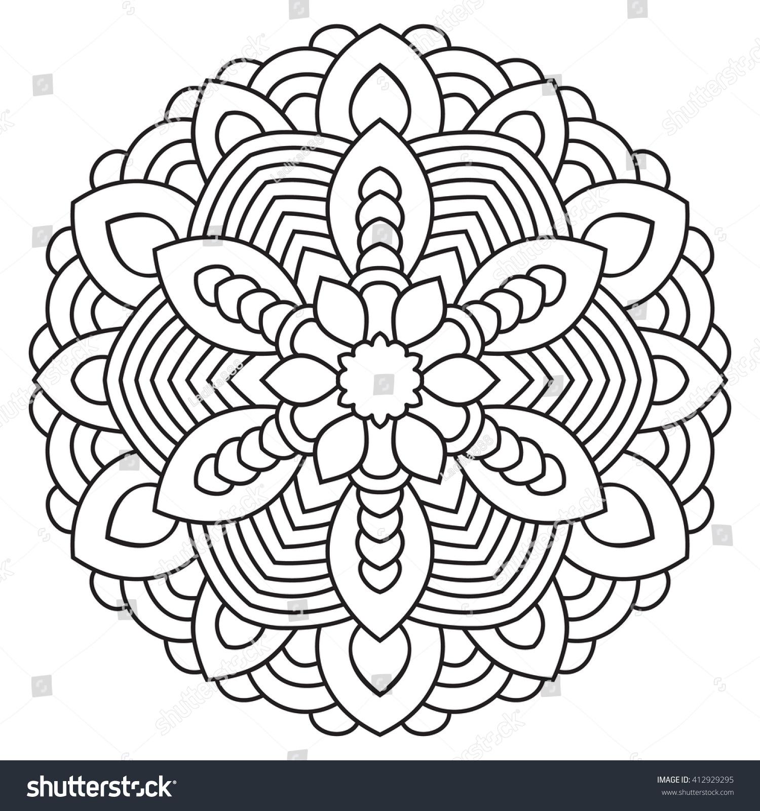 symmetrical coloring pages - symmetrical circular pattern mandala oriental ornament