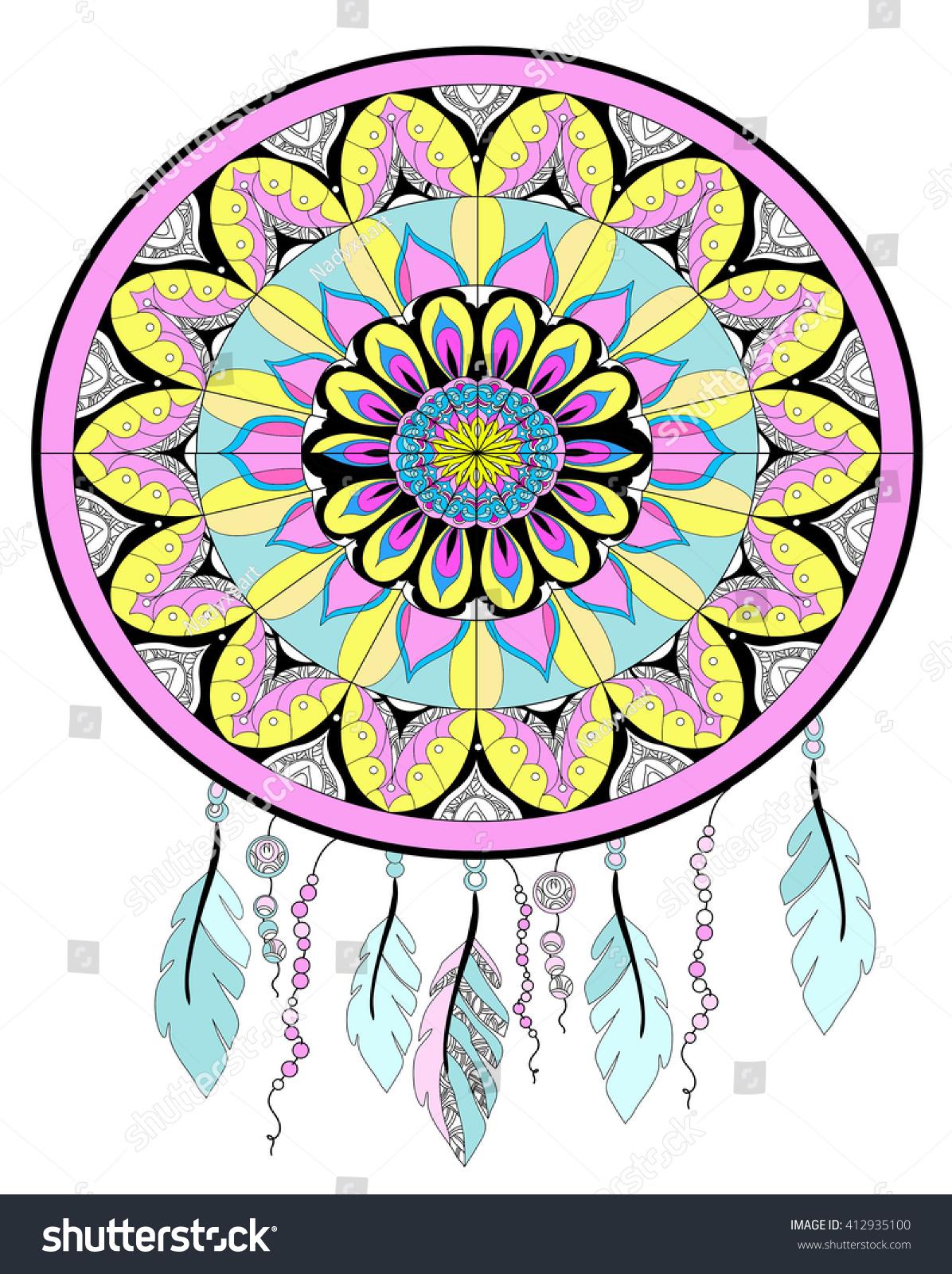 Color art dreamcatcher - Dream Catcher Drawing Color Graphics