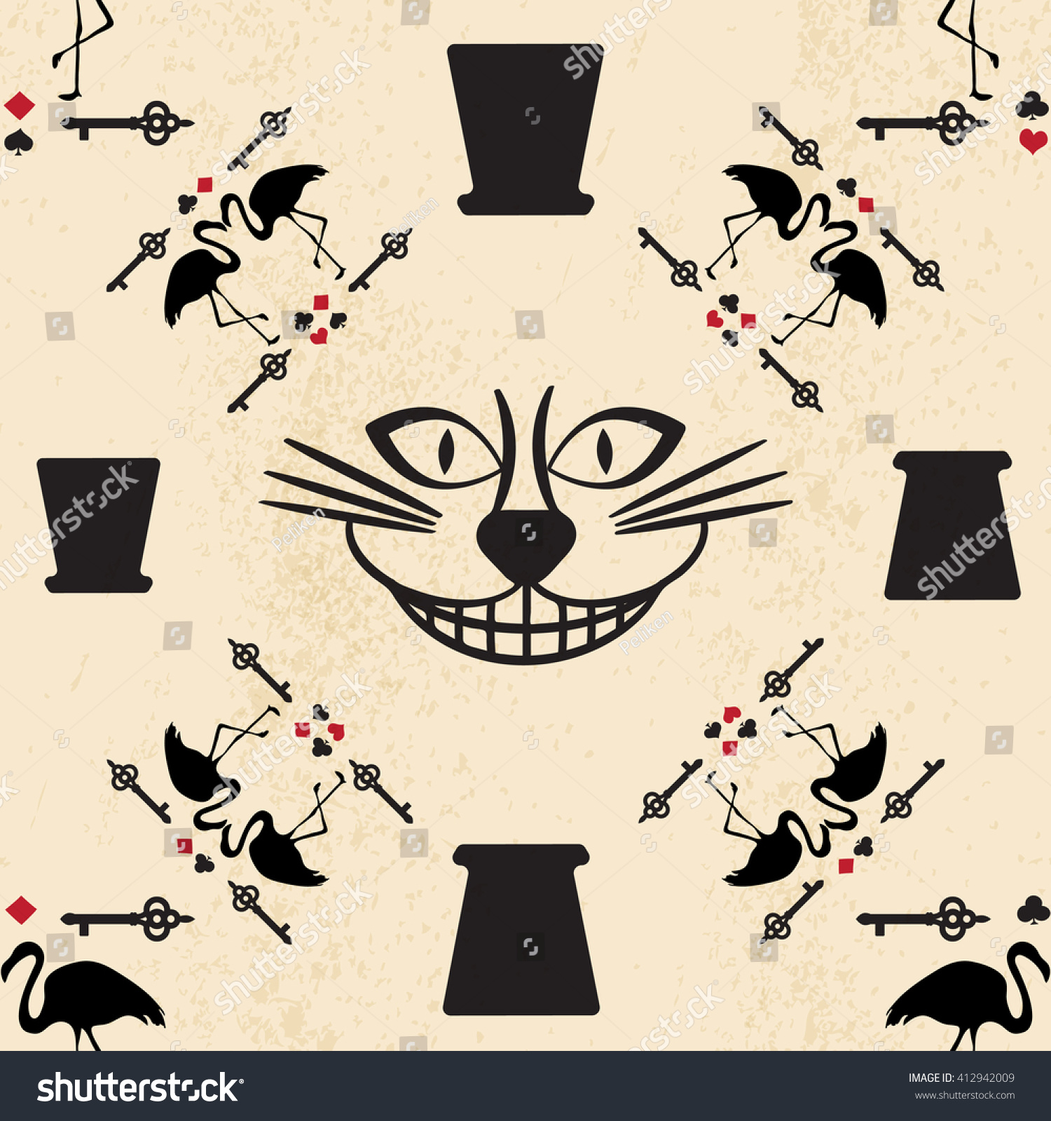 seamless pattern style alice wonderland vector stock vector
