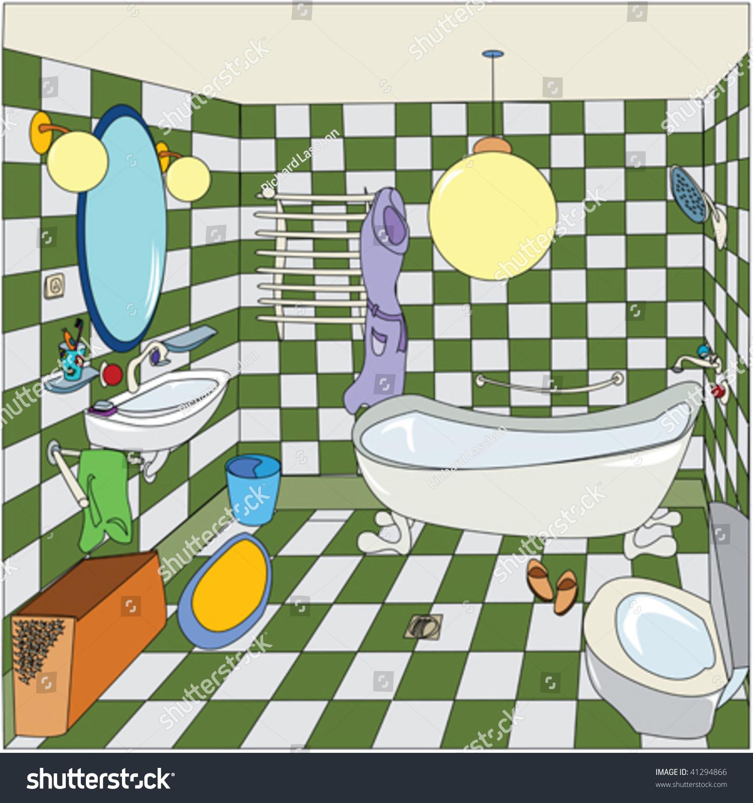 Cozy Bathroom Cartoon Illustration Easy Edit Stock Vector