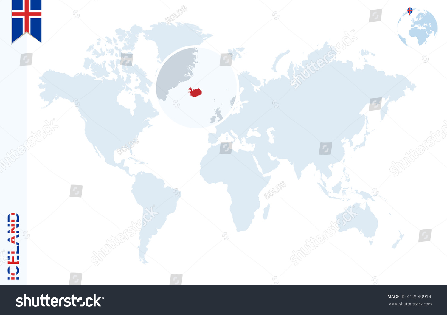 World map magnifying on iceland blue stock vector hd royalty free world map with magnifying on iceland blue earth globe with iceland flag pin zoom gumiabroncs