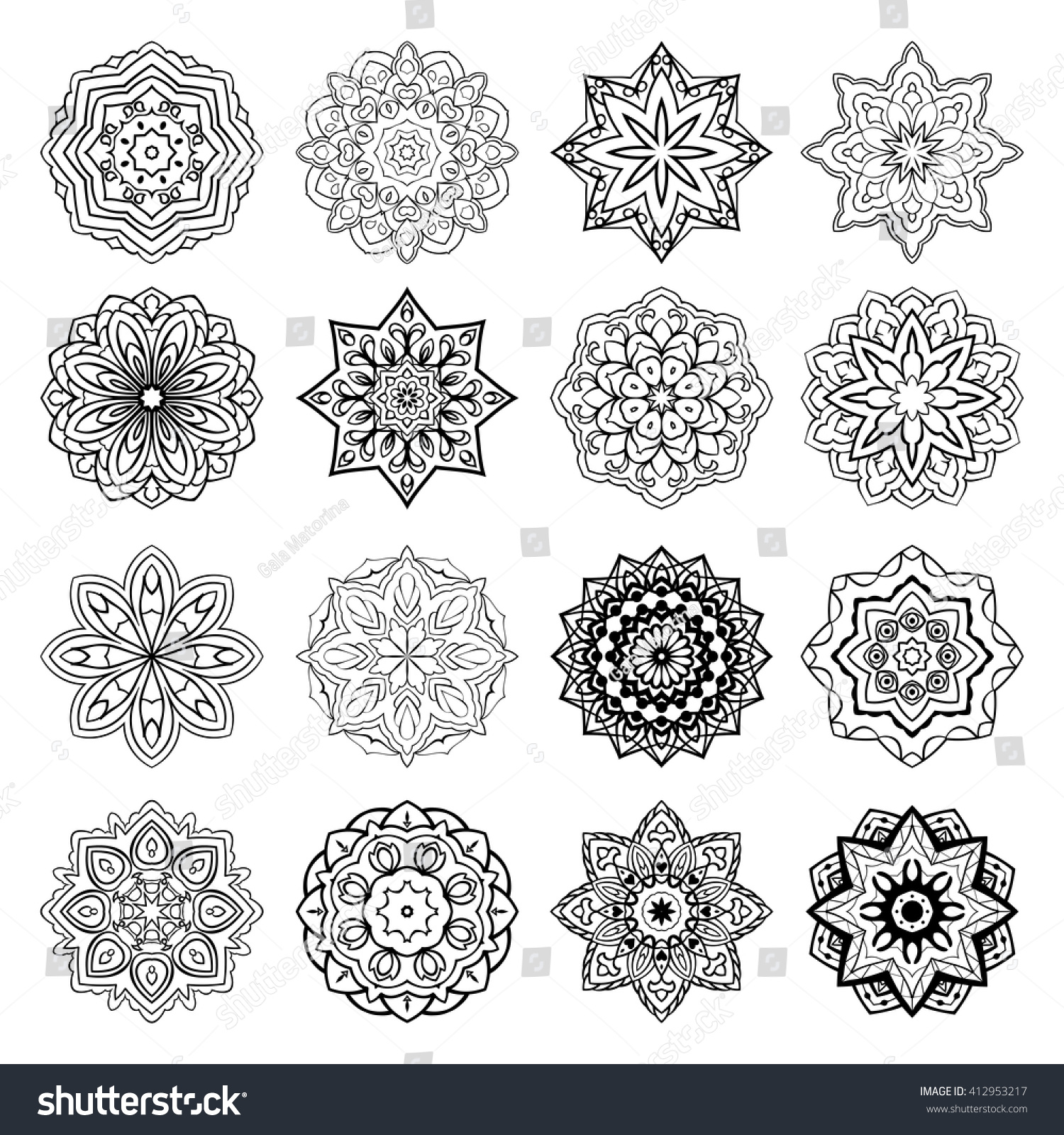 Set Mandalas Collection Stylized Stars Snowflakes Stock Vector (2018 ...