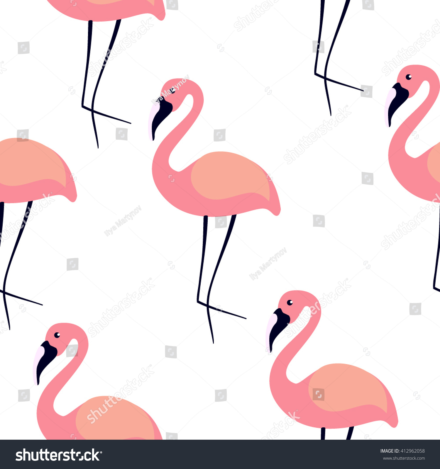 Flamingo vector seamless pattern