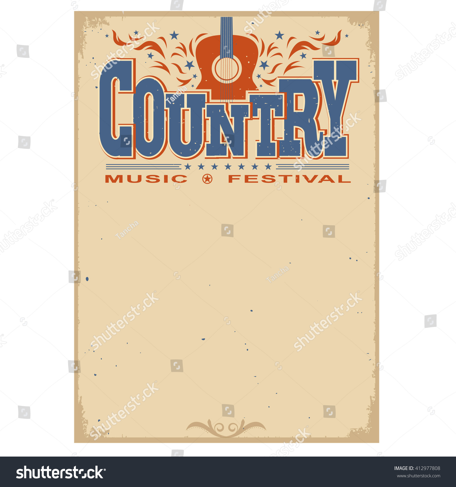 Country Music Wallpaper: Country Music Festival Poster On Old Stock Vector