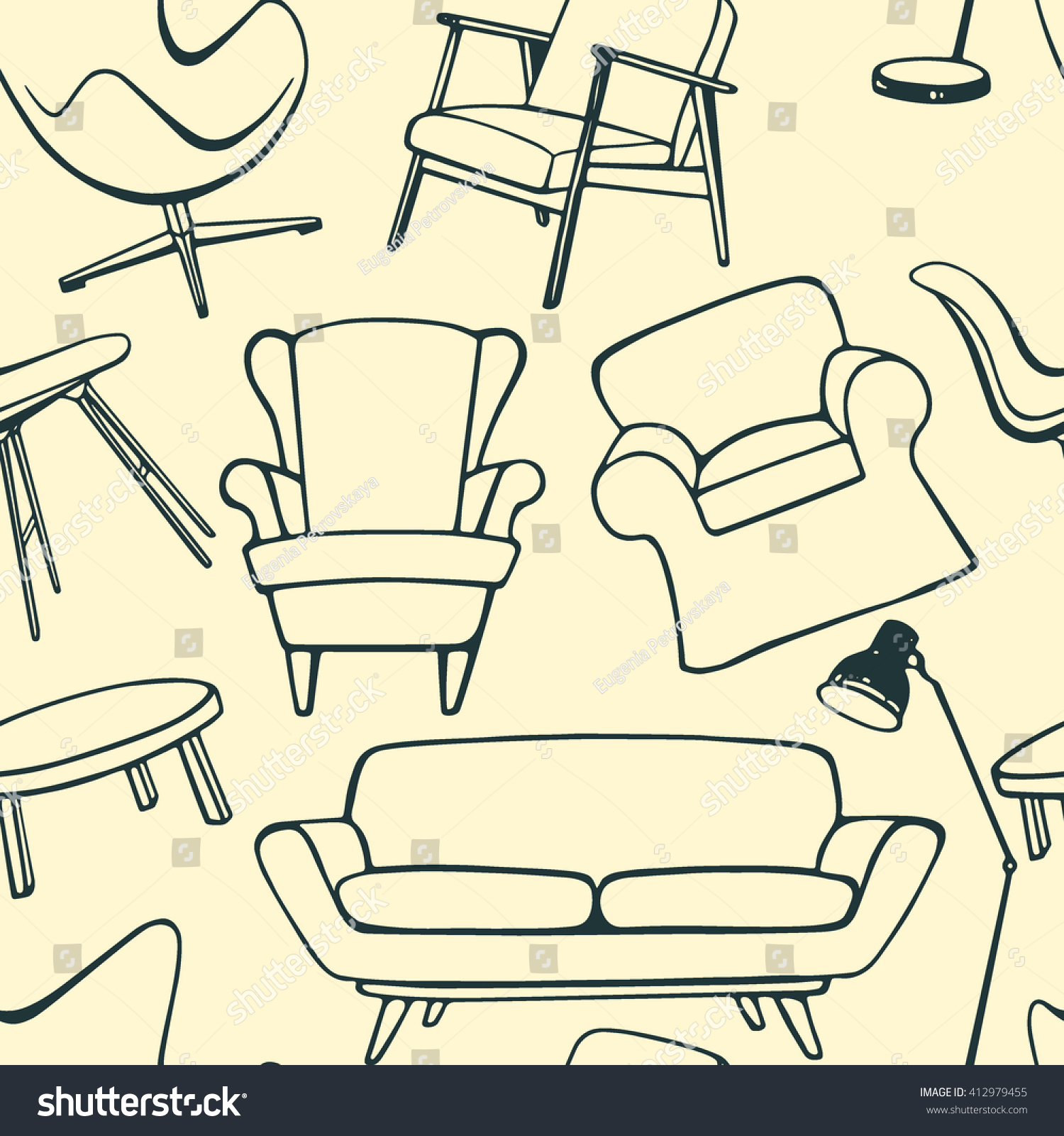 Vector Seamless Pattern With Hand Drawn Furniture Items Beautiful Interior Design Elements Perfect For