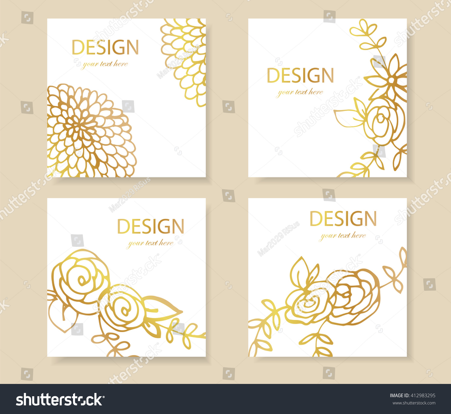 design templates business cards gold flyers stock vector